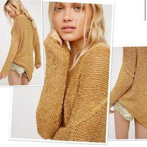 Free People Mustard Asymmetrical Vertigo Sweater